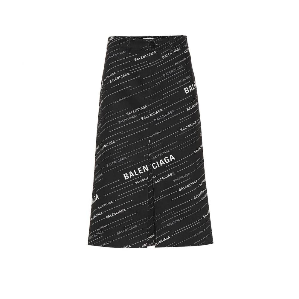 バレンシアガ Balenciaga レディース スカート ひざ丈スカート【Printed cotton midi skirt】Black/Grey