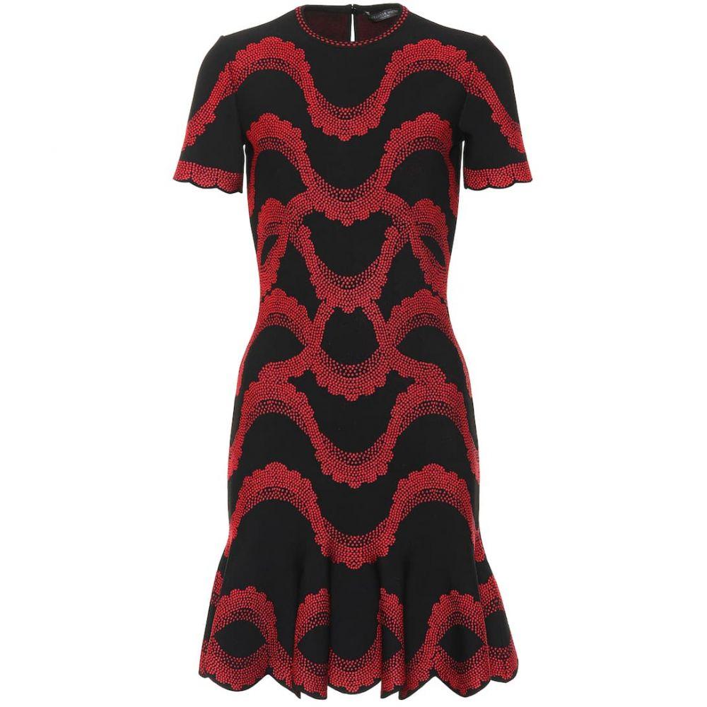 アレキサンダー マックイーン Alexander McQueen レディース ワンピース・ドレス パーティードレス【Jacquard knit dress】Black/Red