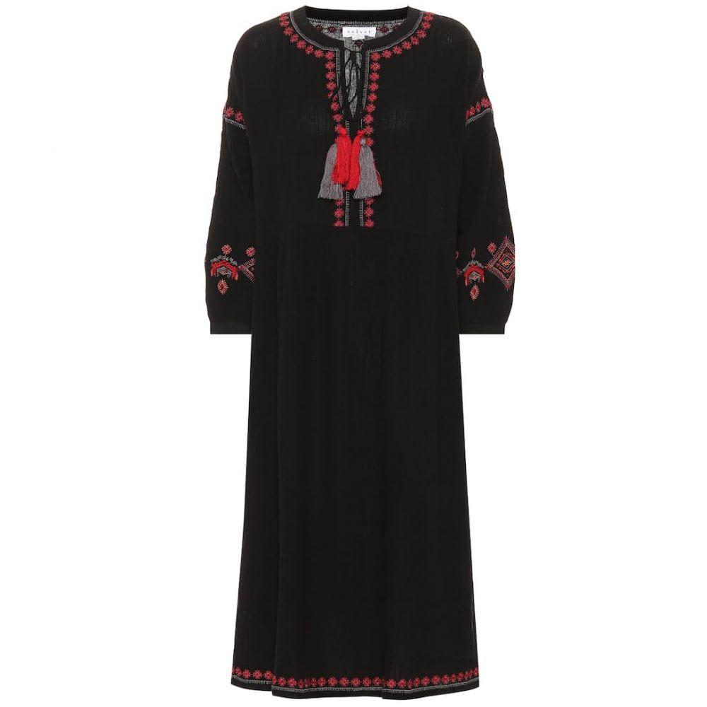 ベルベット グラハム&スペンサー Velvet レディース ワンピース・ドレス ワンピース【Etta embroidered midi dress】Black