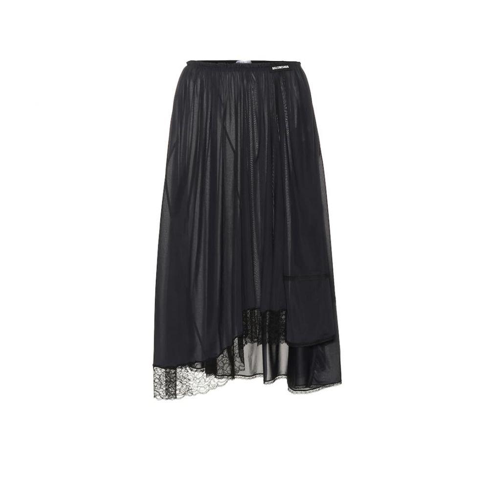 バレンシアガ Balenciaga レディース スカート ひざ丈スカート【Lace-trimmed jersey skirt】Black