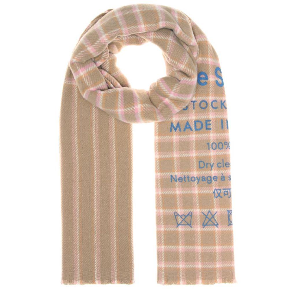 アクネ ストゥディオズ Acne Studios レディース マフラー・スカーフ・ストール【Cassiar checked wool scarf】Beige Pink