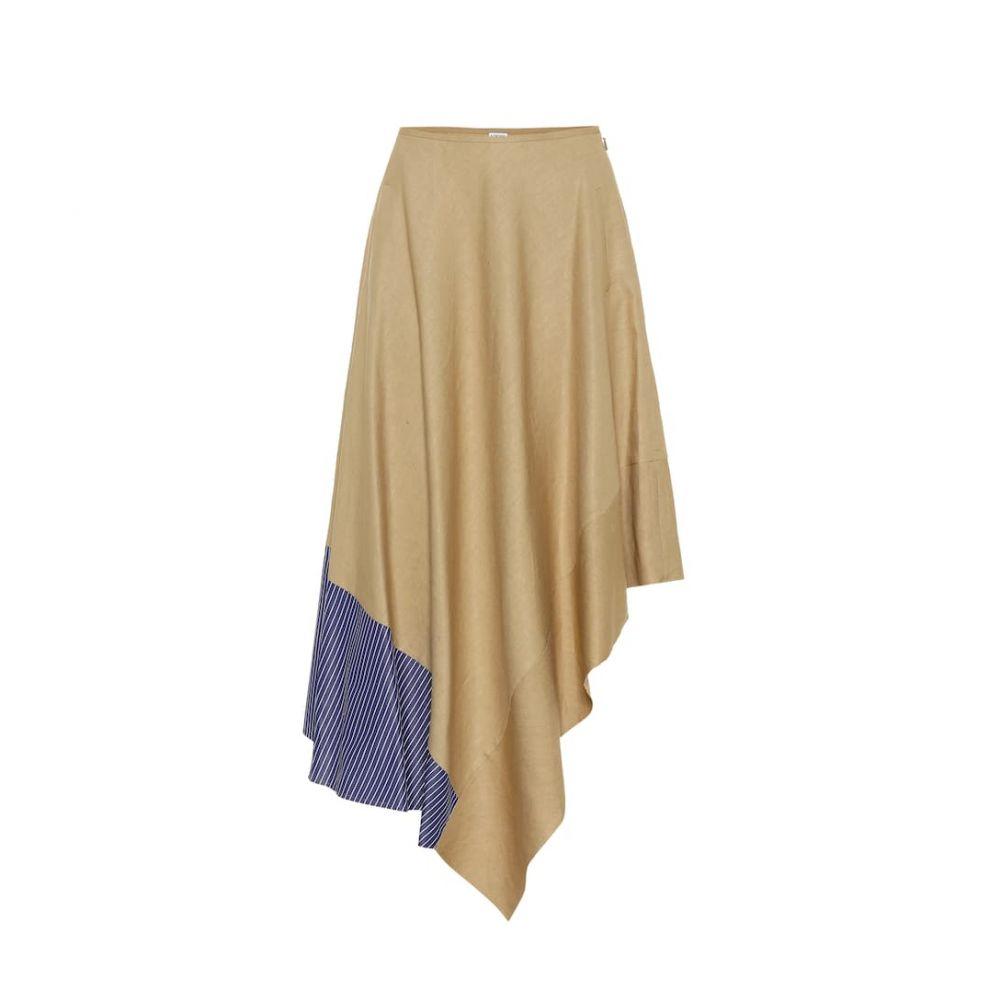ロエベ Loewe レディース スカート ひざ丈スカート【Asymmetric linen and cotton skirt】Beige/Blue/White