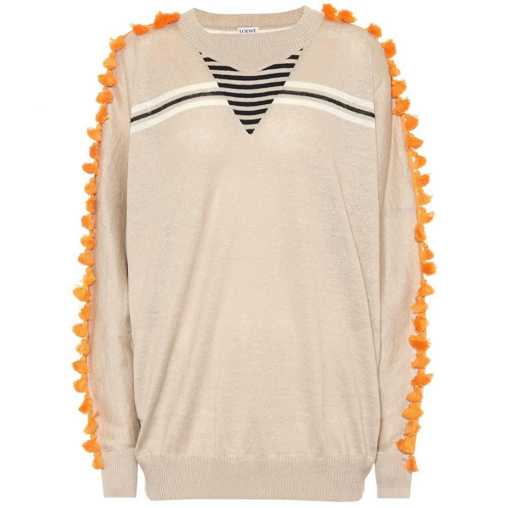 ロエベ Loewe レディース トップス ニット・セーター【Linen and cotton sweater】Beige/Orange