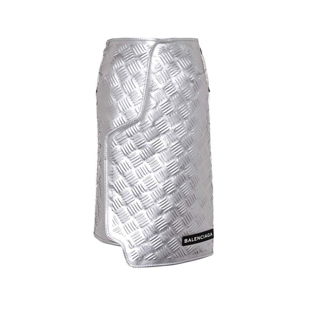 バレンシアガ Balenciaga レディース スカート【Embossed metallic leather skirt】Argent