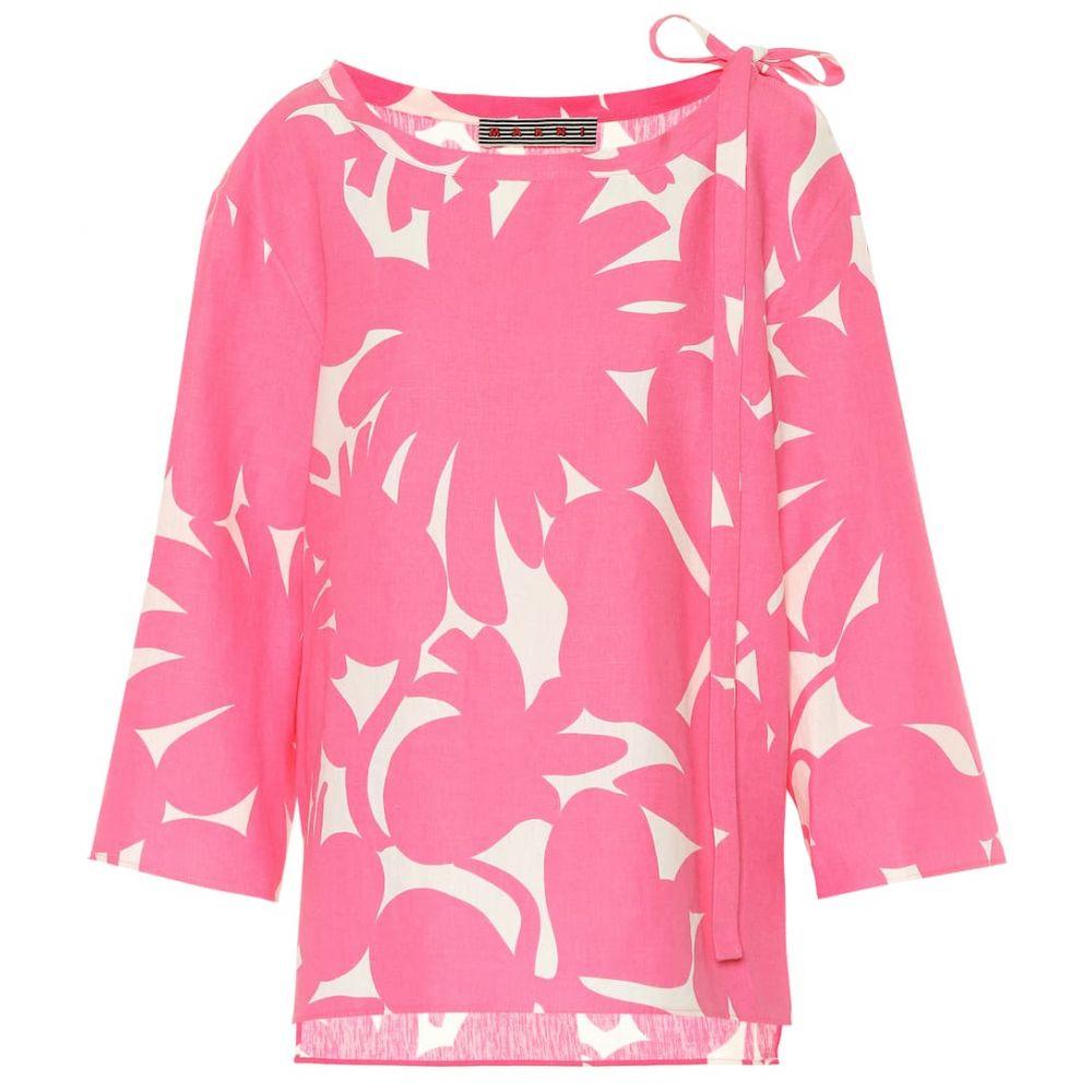 マルニ Marni レディース トップス ブラウス・シャツ【Printed linen-blend shirt】