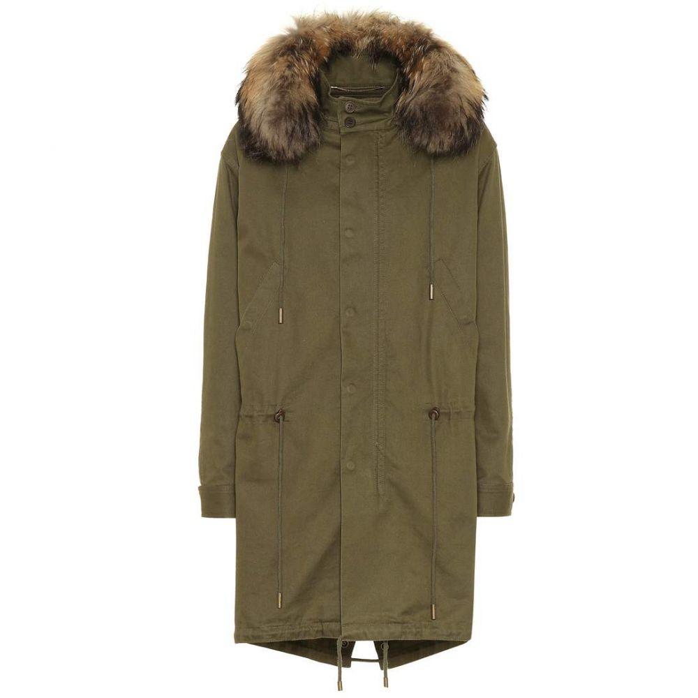 イヴ サンローラン Saint Laurent レディース アウター コート【Cotton-blend fur-trimmed parka】