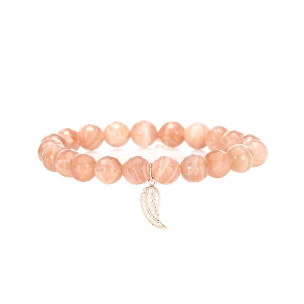 シドニーエヴァン Sydney Evan レディース ジュエリー・アクセサリー ブレスレット【Mini Wing moonstone beaded bracelet with 14kt rose gold and diamond charm】
