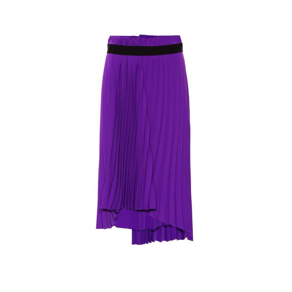 バレンシアガ Balenciaga レディース スカート ひざ丈スカート【Asymmetric pleated skirt】Ultraviolet