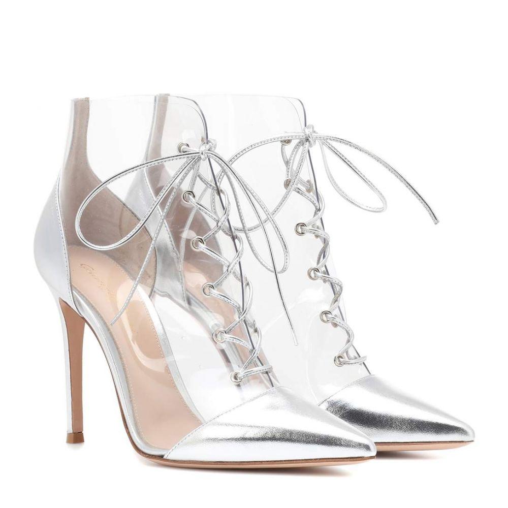 ジャンヴィト ロッシ Gianvito Rossi レディース シューズ・靴 ブーツ【Icon leather-trimmed ankle boots】Silver