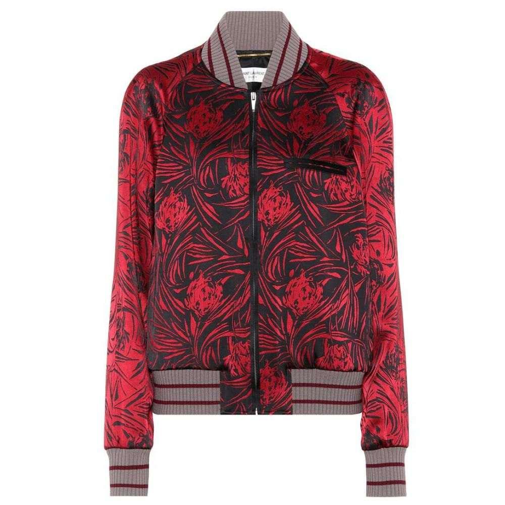 イヴ サンローラン Saint Laurent レディース アウター ブルゾン【Printed satin bomber jacket】Rouge/Noir
