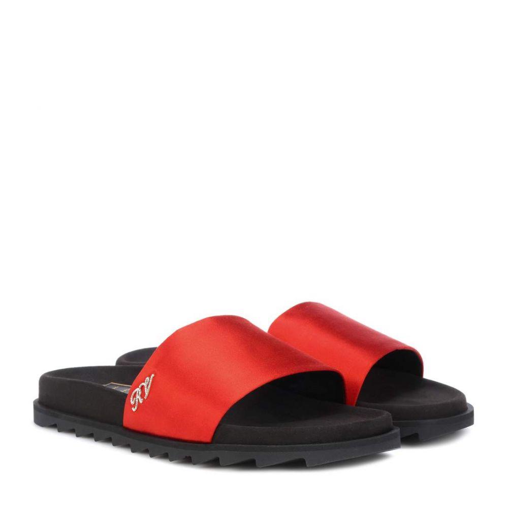 ロジェ ヴィヴィエ Roger Vivier レディース シューズ・靴 サンダル・ミュール【Slidy Viv satin slides】Red