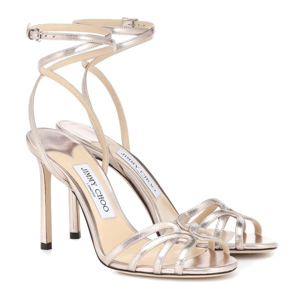 ジミー チュウ Jimmy Choo レディース シューズ・靴 サンダル・ミュール【Mimi 100 metallic leather sandals】platinum