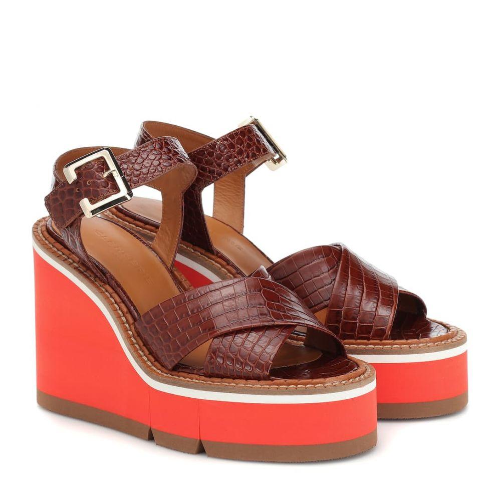 ロベール クレジュリー Clergerie レディース シューズ・靴 サンダル・ミュール【Alive leather wedge sandals】papaya croc