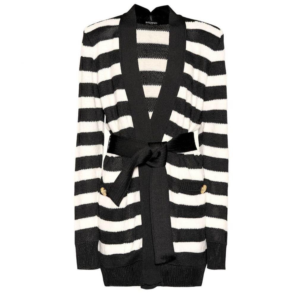 バルマン Balmain レディース トップス カーディガン【Striped knitted cardigan】Noir/Blanc