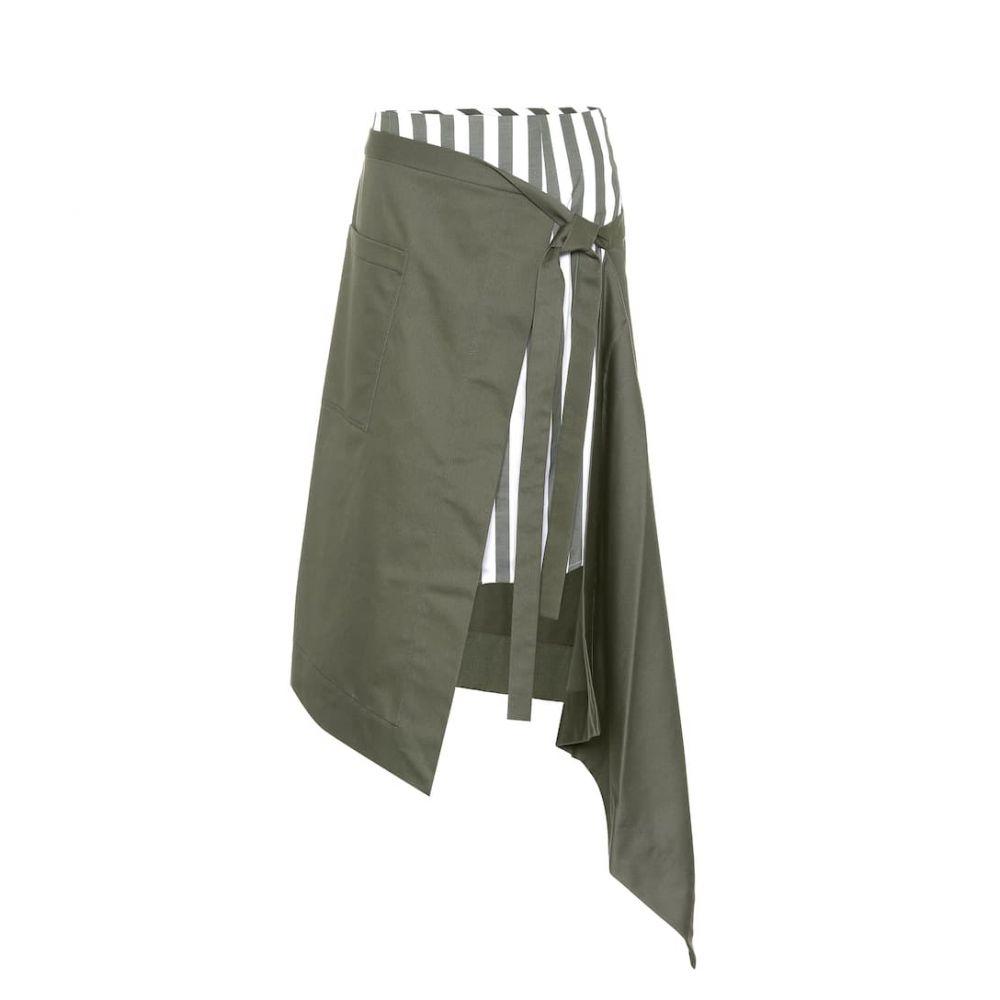 モンス Monse レディース スカート ひざ丈スカート【Asymmetric cotton wrap skirt】Olive