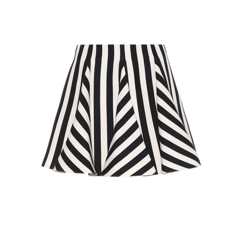 ヴァレンティノ Valentino レディース スカート ミニスカート【Striped wool and silk miniskirt】Nero/Bianco