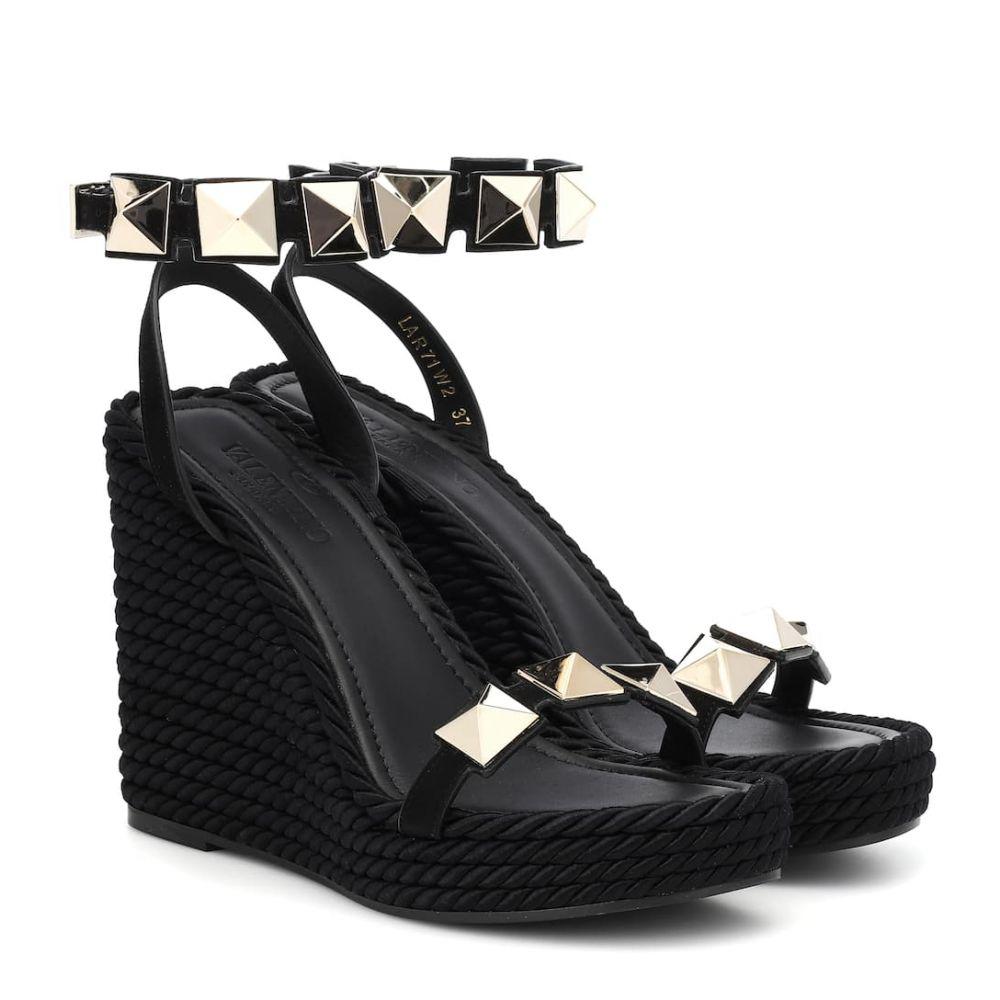 ヴァレンティノ Valentino レディース シューズ・靴 サンダル・ミュール【Garavani leather wedge sandals】Nero