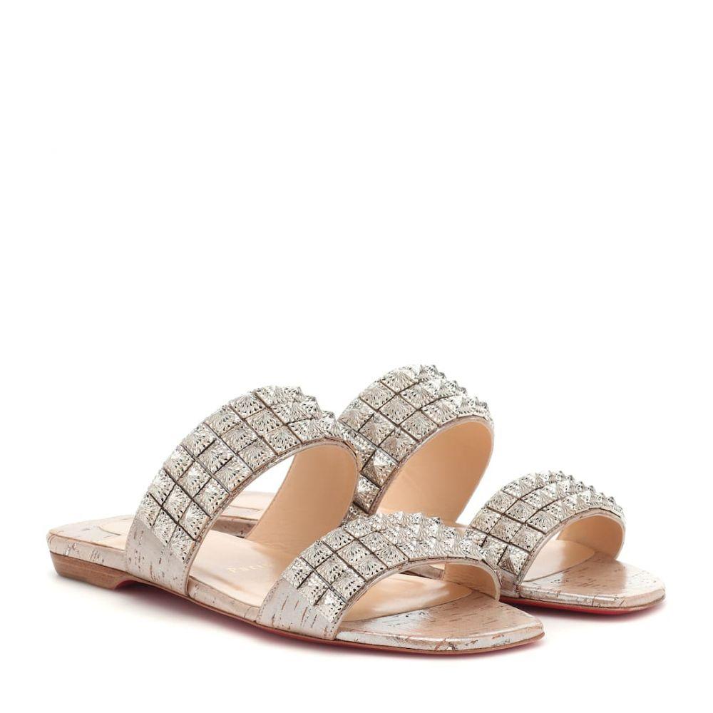 クリスチャン ルブタン Christian Louboutin レディース シューズ・靴 サンダル・ミュール【Myriadiam Flat embellished sandals】Silver/Silver