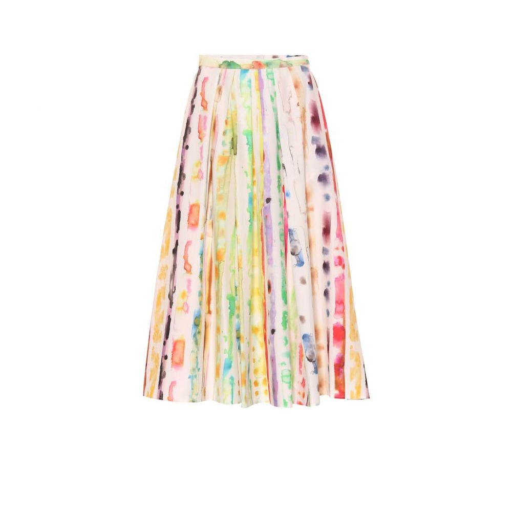 ロージーアスリン Rosie Assoulin レディース スカート ひざ丈スカート【Pleated stretch-cotton A-line skirt】Multi Watercolor