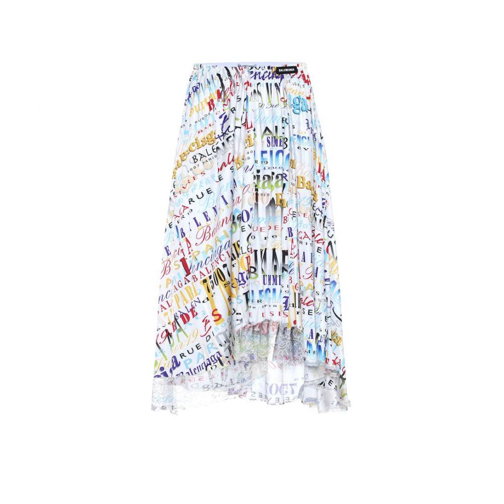 バレンシアガ Balenciaga レディース スカート ひざ丈スカート【Printed jersey midi skirt】White/Yellow
