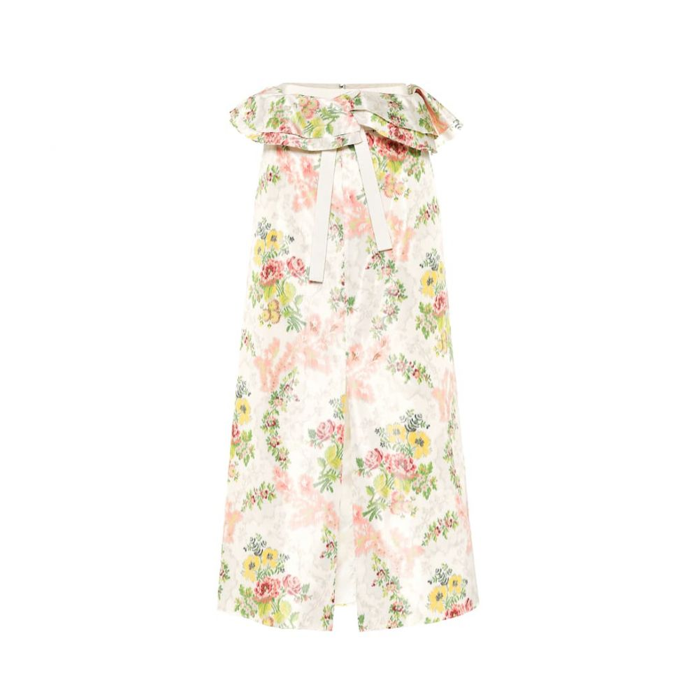 ブロック コレクション Brock Collection レディース スカート ひざ丈スカート【Peplum floral silk-blend skirt】Dark Beige