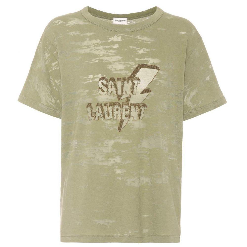 イヴ サンローラン Saint Laurent レディース トップス Tシャツ【Printed devore jersey T-shirt】Khaki