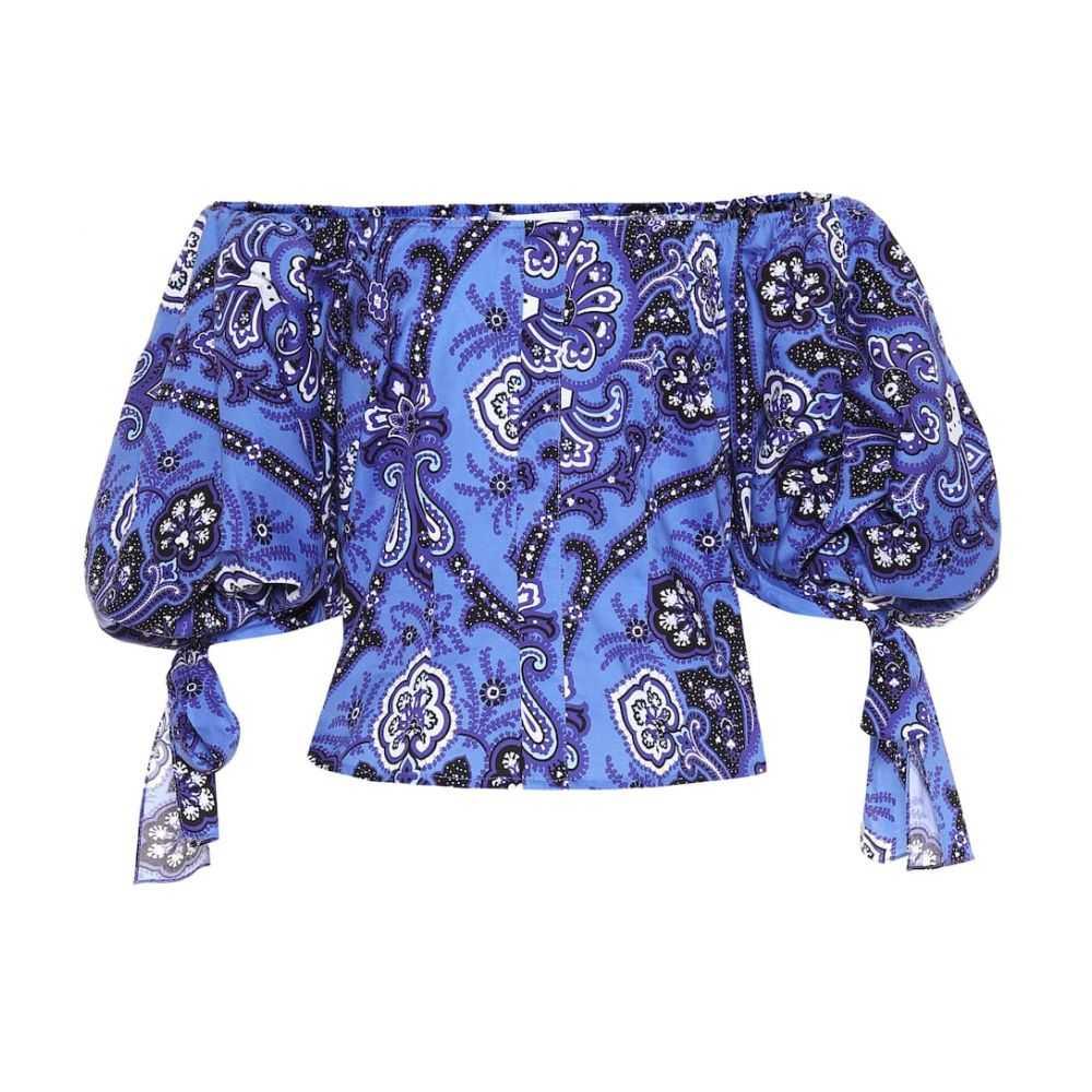 キャロライン コンスタス Caroline Constas レディース トップス【Nella printed stretch cotton top】Blue Multi