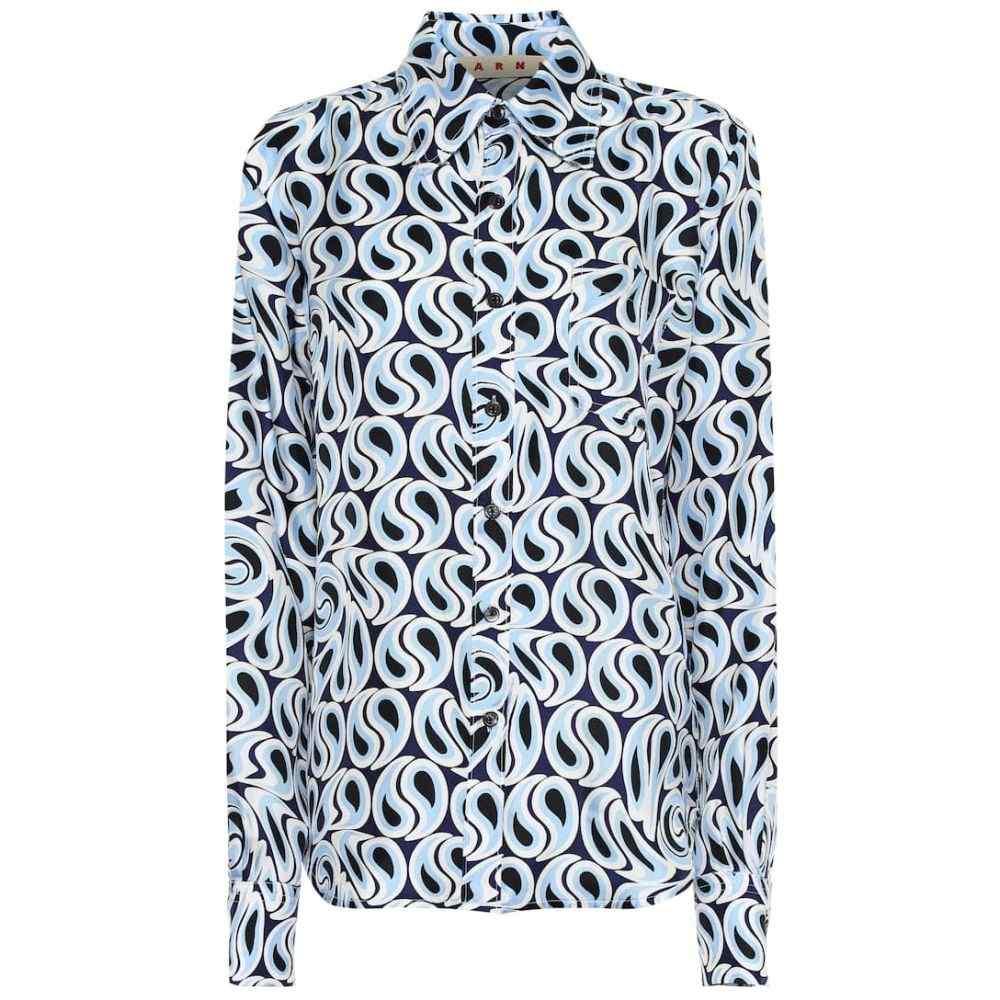 マルニ Marni レディース トップス ブラウス・シャツ【Printed silk-twill blouse】Sky