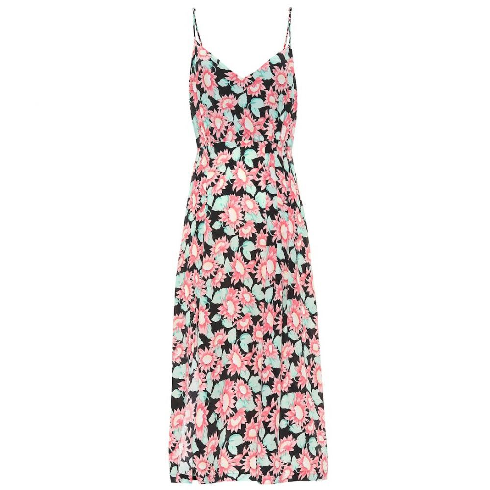 レ レヴェリズ Les Reveries レディース ワンピース・ドレス ワンピース【Floral silk midi dress】Pink Daisy Black