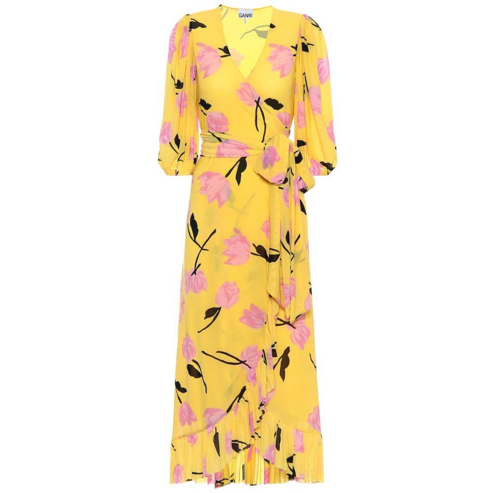 ガニー Ganni レディース ワンピース・ドレス ワンピース【floral wrap dress】Minion Yellow