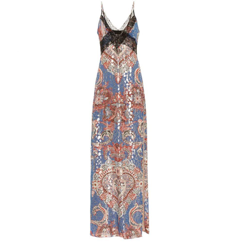 デュンダス Dundas レディース ワンピース・ドレス ワンピース【Fil coupe stretch-silk slip dress】Blue/Gold
