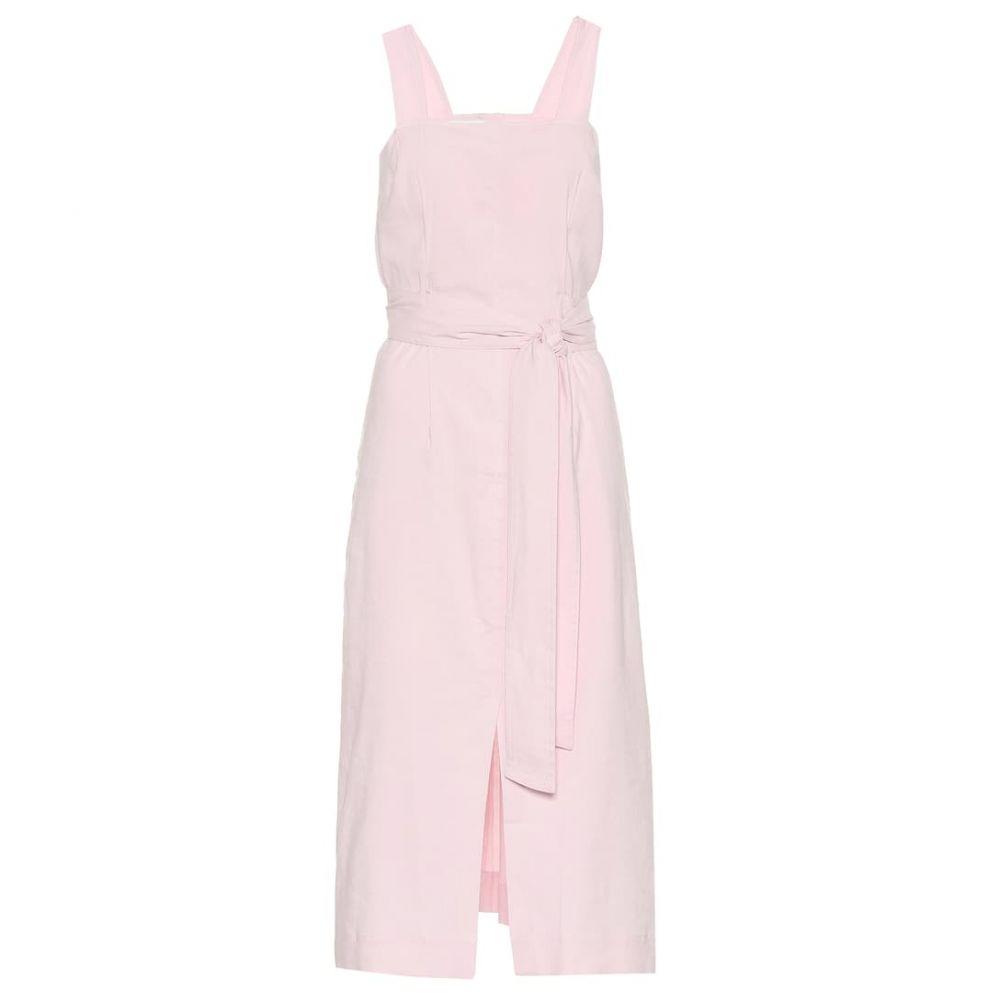 ヴィンス Vince レディース ワンピース・ドレス ワンピース【Belted linen-blend midi dress】Rosa Seco