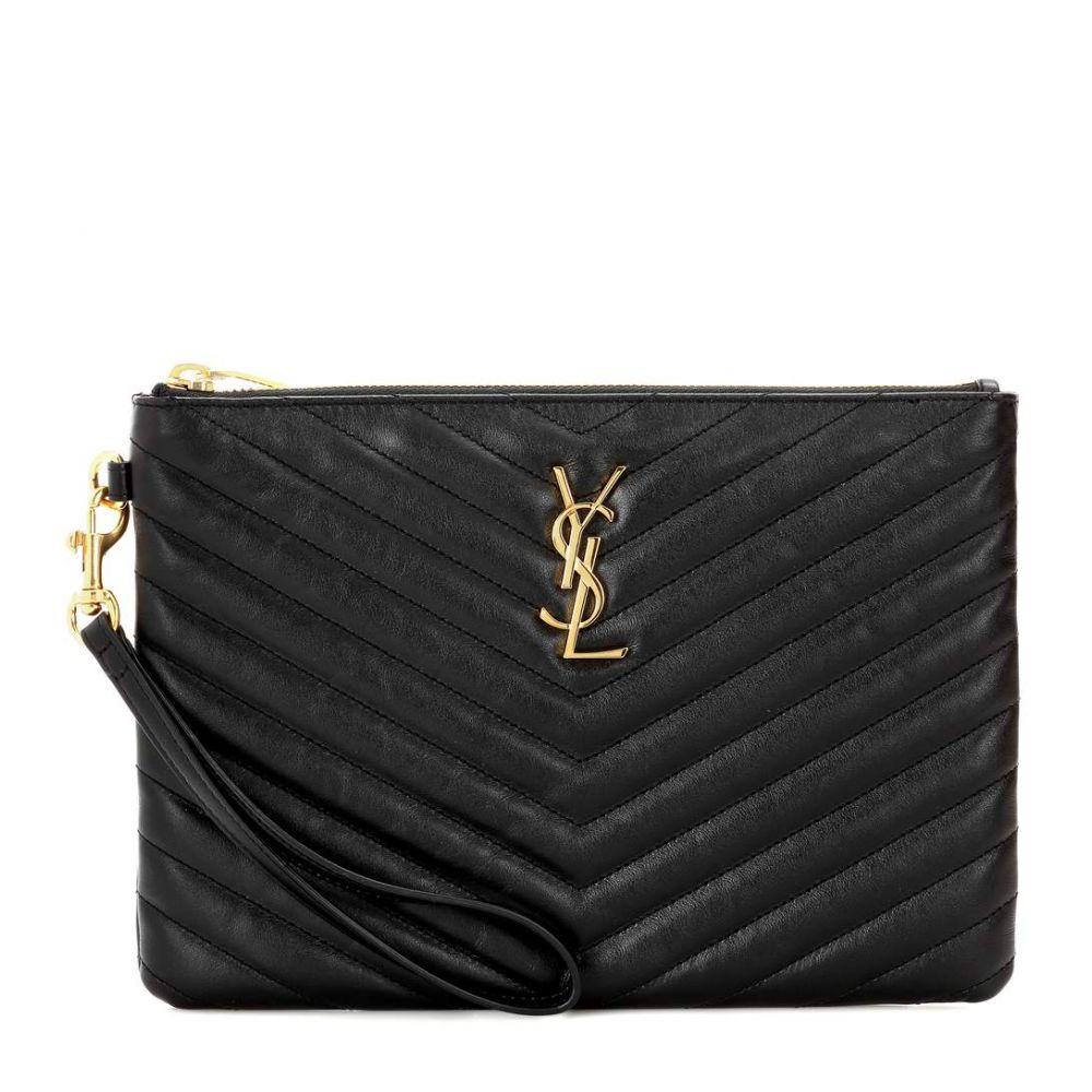 イヴ サンローラン Saint Laurent レディース ポーチ【Monogram leather pouch】Nero