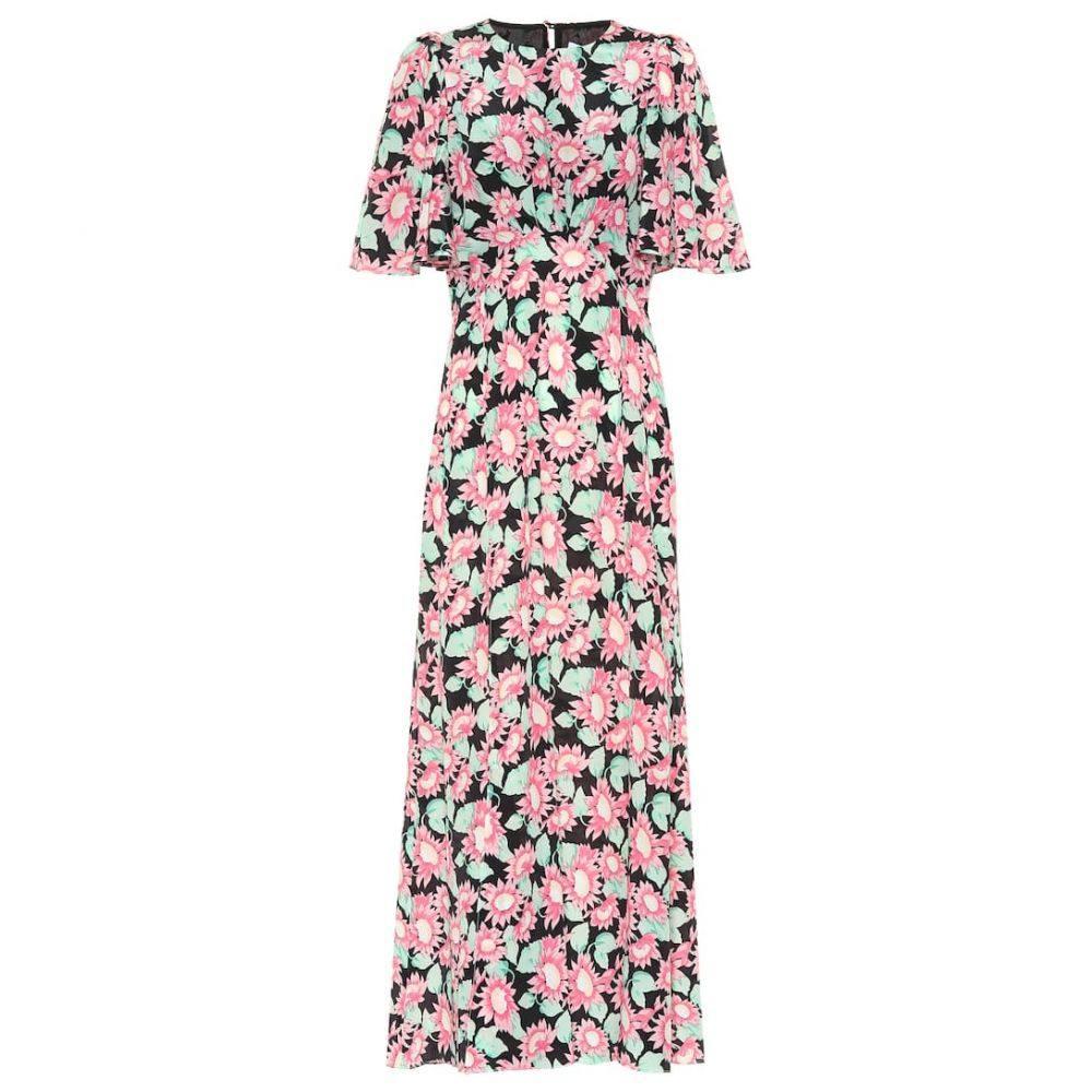 レ レヴェリズ Les Reveries レディース ワンピース・ドレス ワンピース【Floral silk maxi dress】Pink Daisy Black