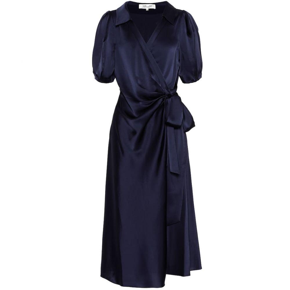 ダイアン フォン ファステンバーグ Diane von Furstenberg レディース ワンピース・ドレス ワンピース【Valentina satin midi wrap dress】New Navy