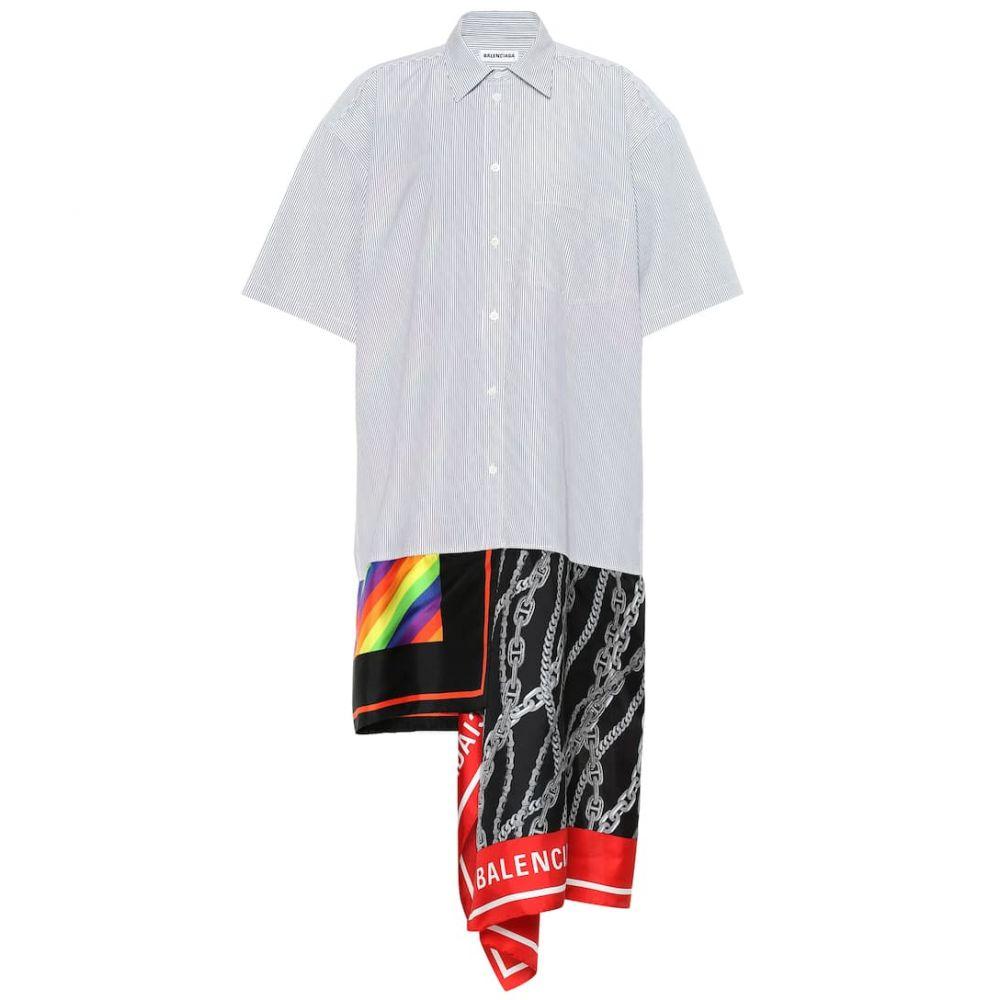 バレンシアガ Balenciaga レディース ワンピース・ドレス ワンピース【Scarf cotton and silk shirt dress】White/Black
