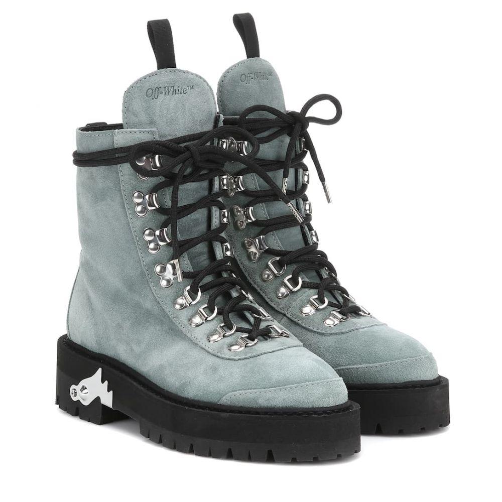 オフ-ホワイト Off-White レディース シューズ・靴 ブーツ【Suede ankle boots】Light Gree