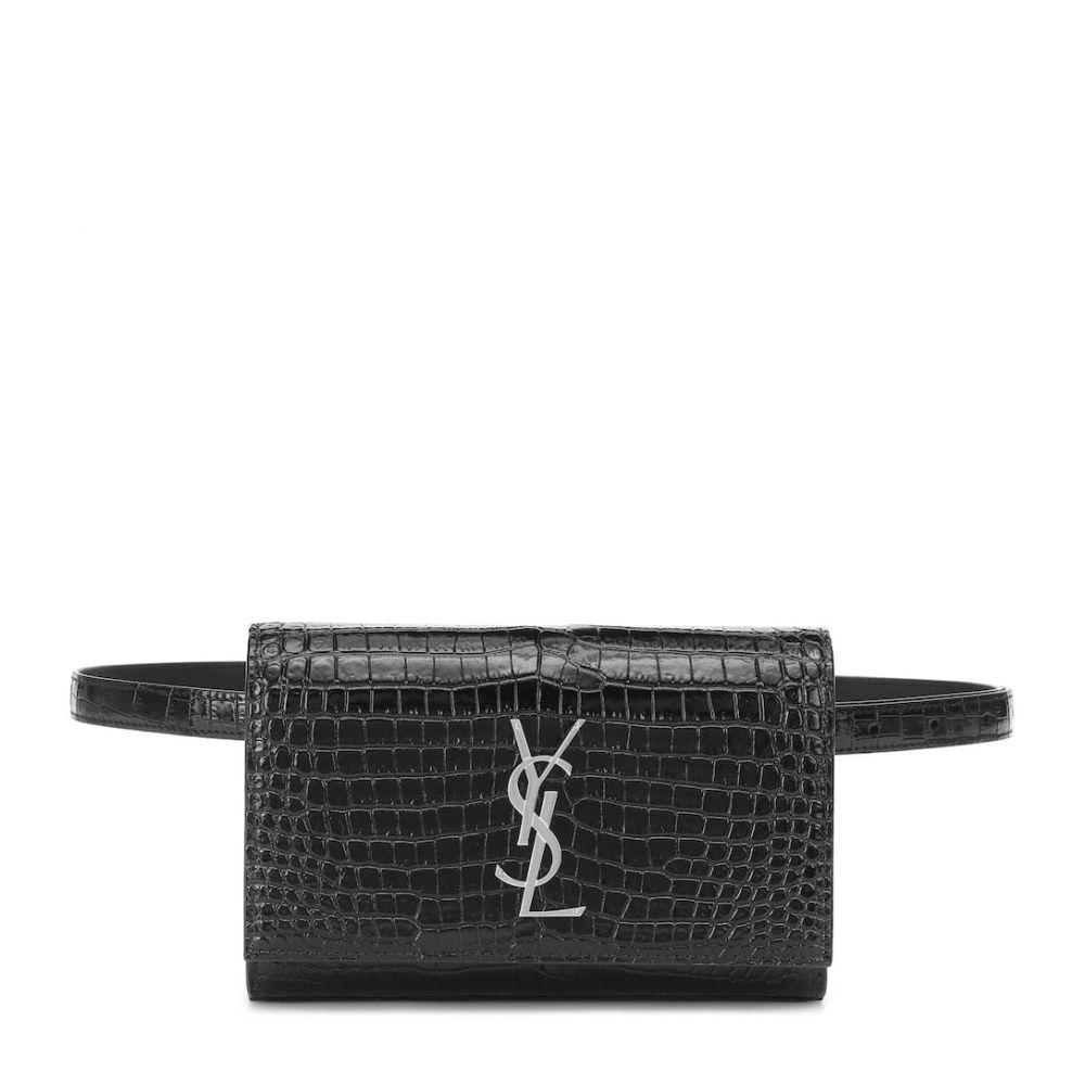 イヴ サンローラン Saint Laurent レディース バッグ ボディバッグ・ウエストポーチ【Kate croc-effect leather belt bag】Noir