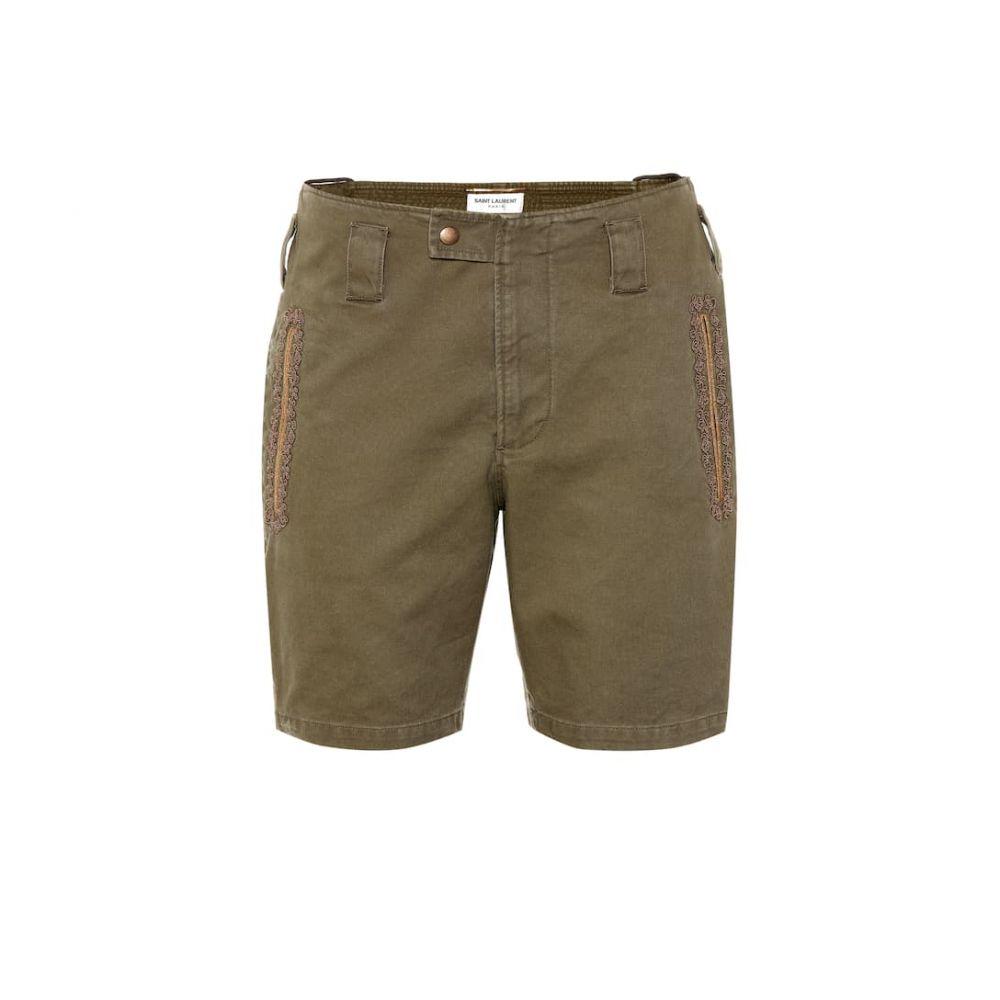 イヴ サンローラン Saint Laurent レディース ボトムス・パンツ ショートパンツ【Embroidered cotton-blend shorts】Olive