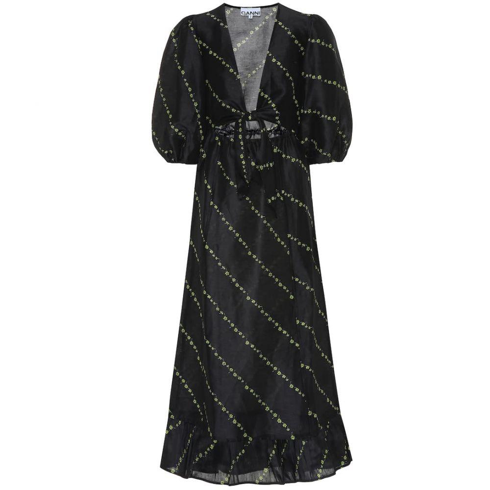 ガニー Ganni レディース ワンピース・ドレス ワンピース【Printed linen and silk midi dress】Black