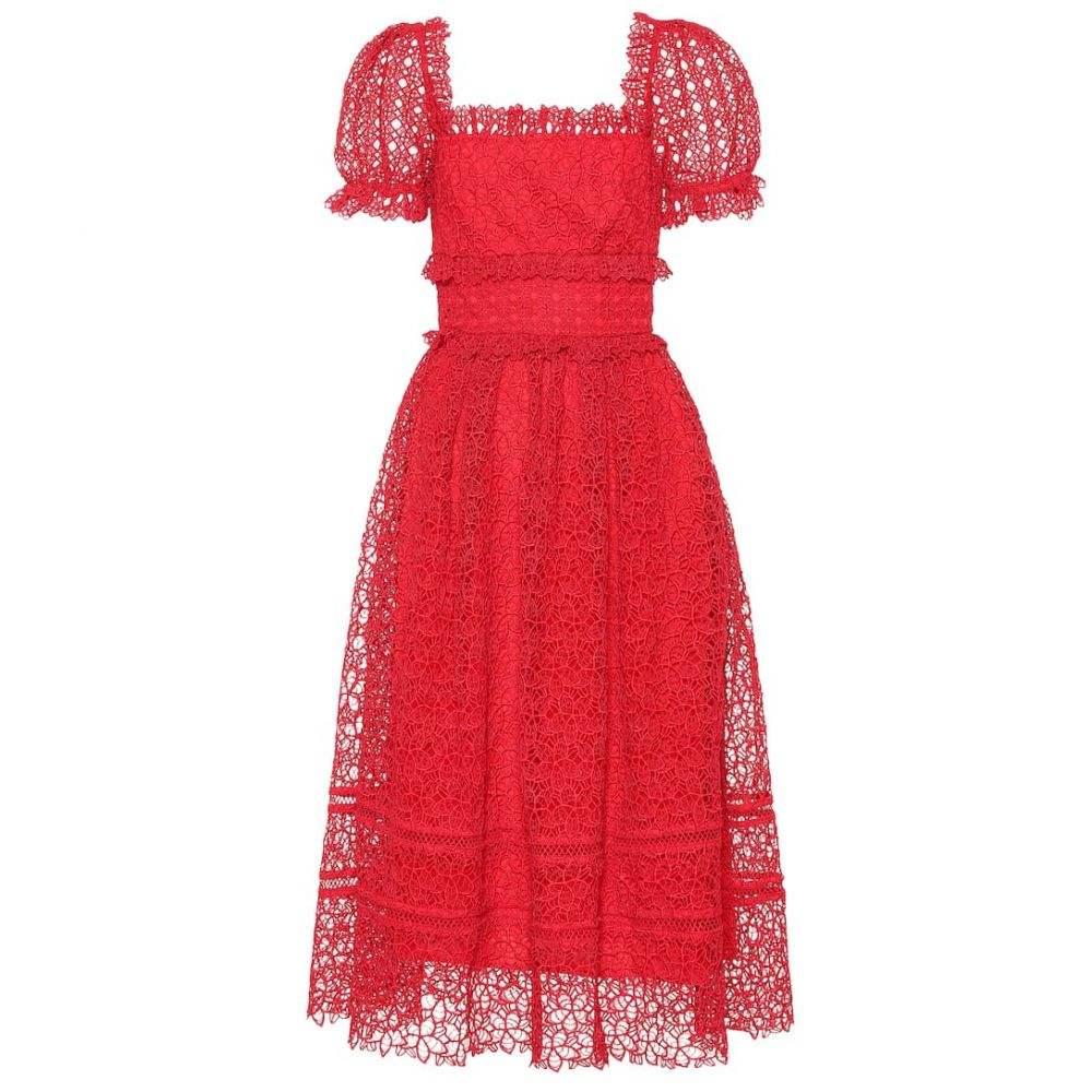 セルフ ポートレイト Self-Portrait レディース ワンピース・ドレス パーティードレス【Guipure lace midi dress】Red