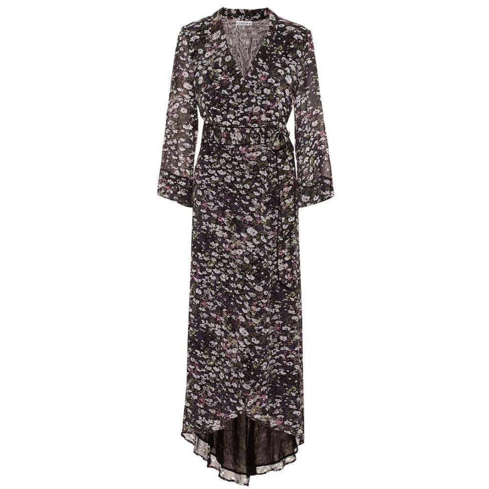 ガニー Ganni レディース ワンピース・ドレス ワンピース【Floral georgette maxi wrap dress】Black