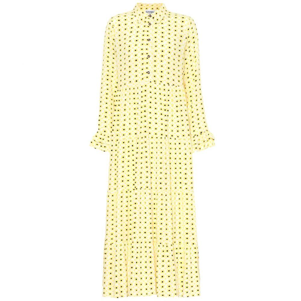 ガニー Ganni レディース ワンピース・ドレス ワンピース【Floral crepe midi dress】Maize