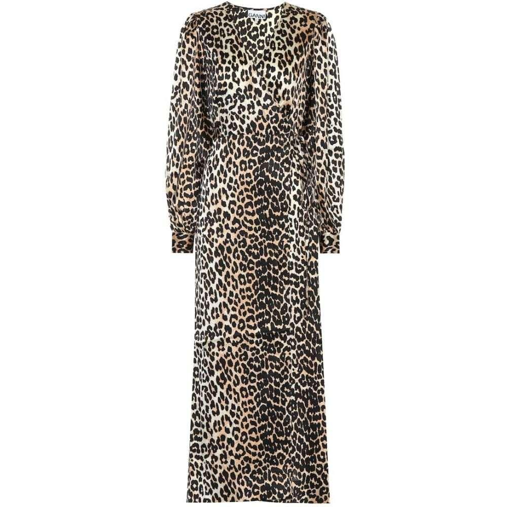 ガニー Ganni レディース ワンピース・ドレス ワンピース【Leopard-printed stretch-silk dress】Leopard