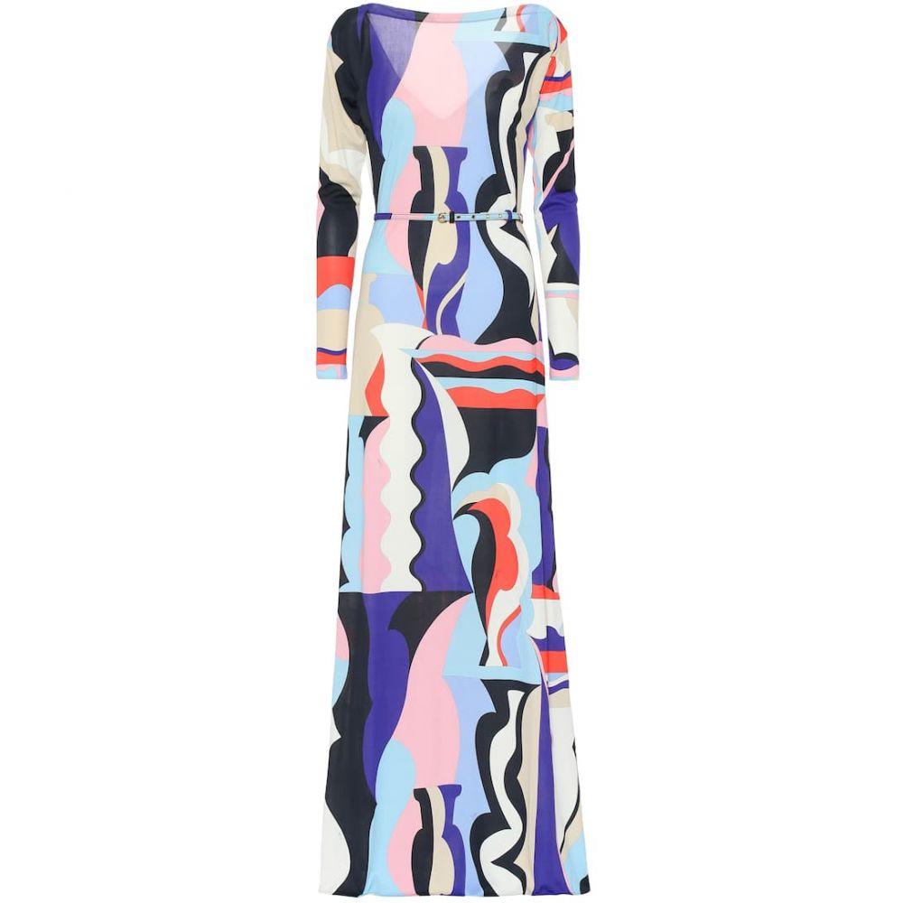 エミリオ プッチ Emilio Pucci レディース ワンピース・ドレス パーティードレス【Printed silk-blend maxi dress】Viola/Corallo