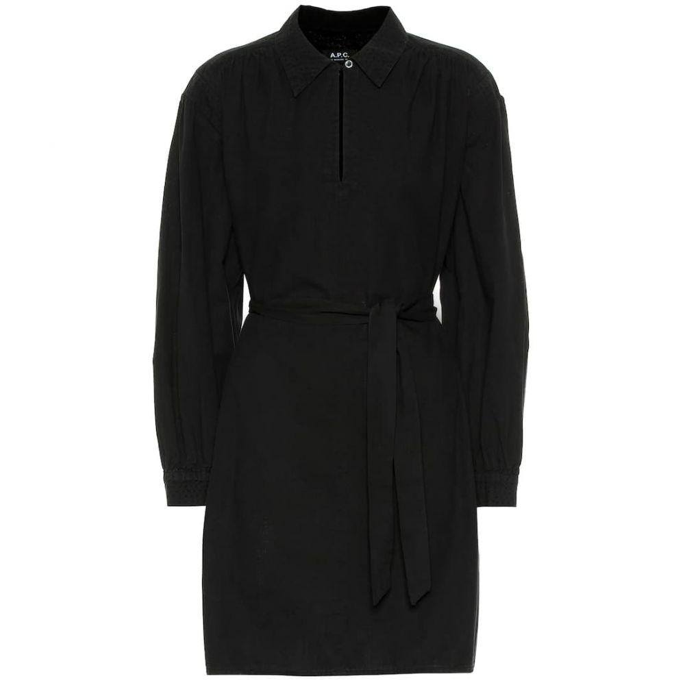 アーペーセー A.P.C. レディース ワンピース・ドレス ワンピース【Maria belted cotton shirt dress】Noir