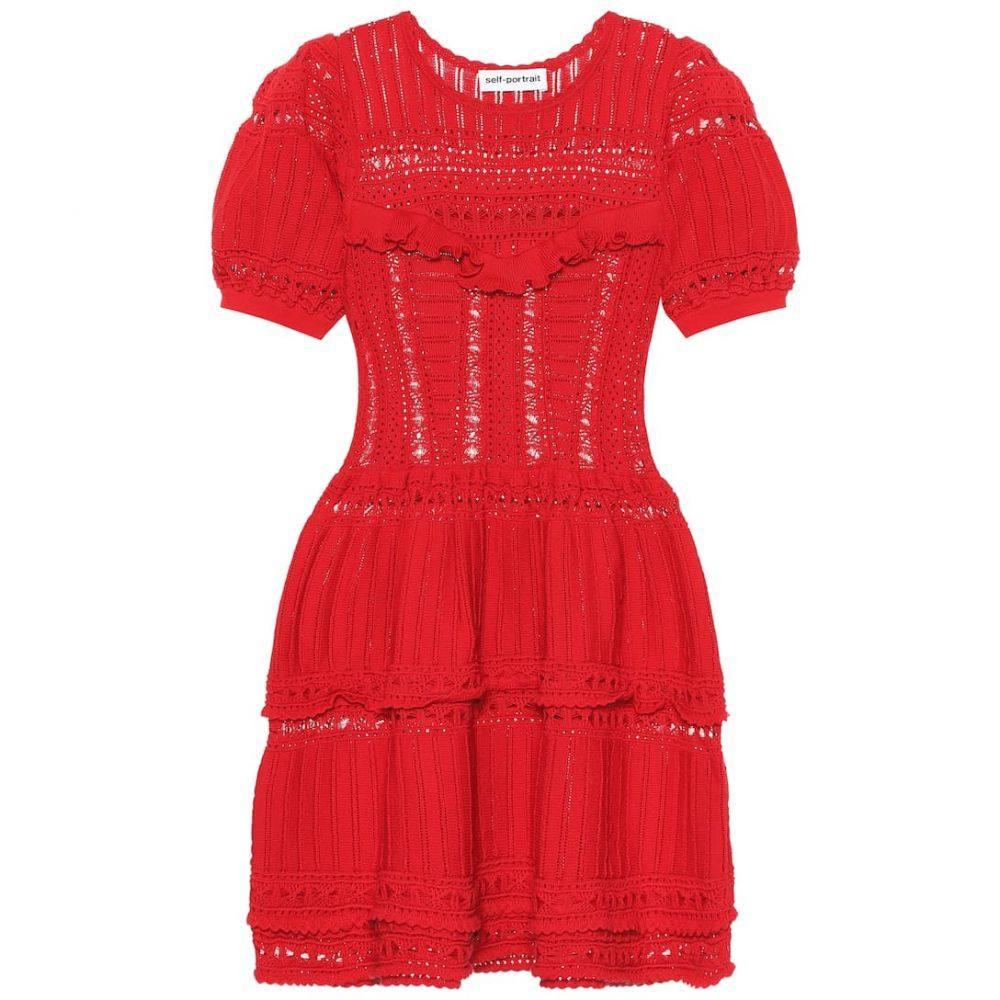 セルフ ポートレイト Self-Portrait レディース ワンピース・ドレス ワンピース【Lace cotton knit minidress】Dark Red