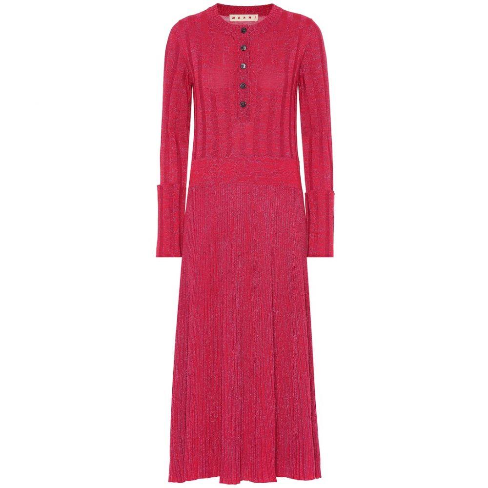 マルニ Marni レディース ワンピース・ドレス ワンピース【Wool-blend midi dress】Dry Rose
