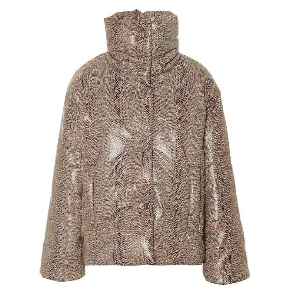 ナヌシュカ Nanushka レディース アウター ダウン・中綿ジャケット【Hide faux leather puffer jacket】Brown