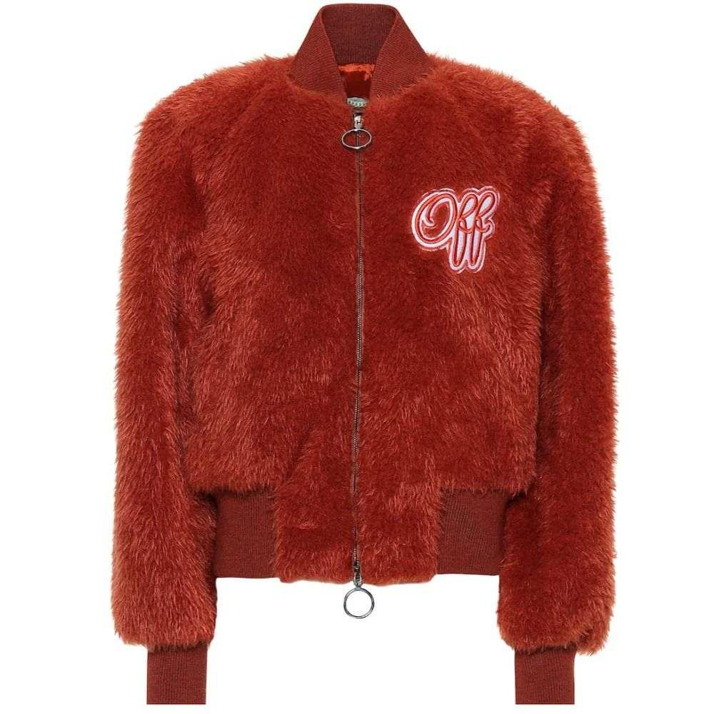オフ-ホワイト Off-White レディース アウター ブルゾン【Embroidered faux fur bomber jacket】Mattone